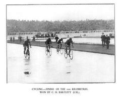 C.H. Bartlett winning the 100km track race