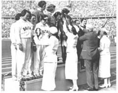 Eileen Hiscock and her team receiving silver medals at the 1936 Berlin games