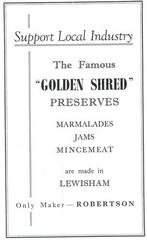 Advert for Robertson's jams from the 1948 Lewisham Town Guide